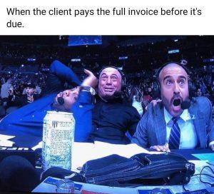 Meme client paid the invoice