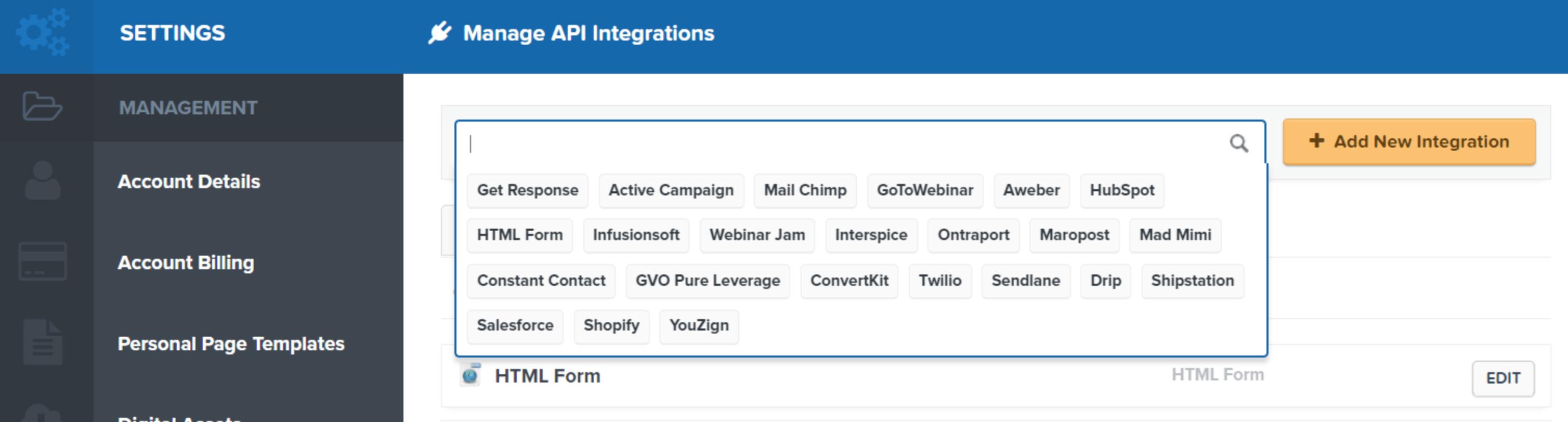 Clickfunnels integration settings