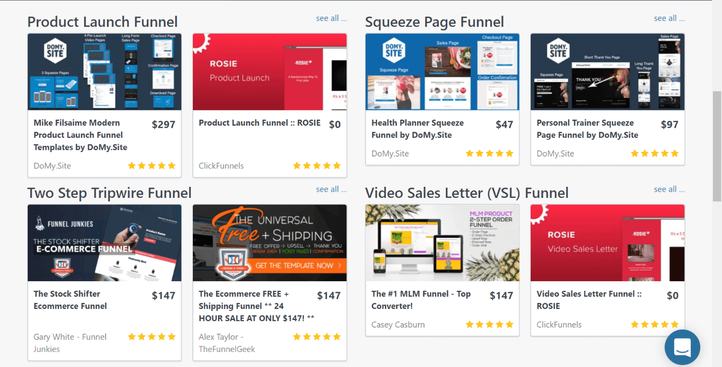 clickfunnels review templates
