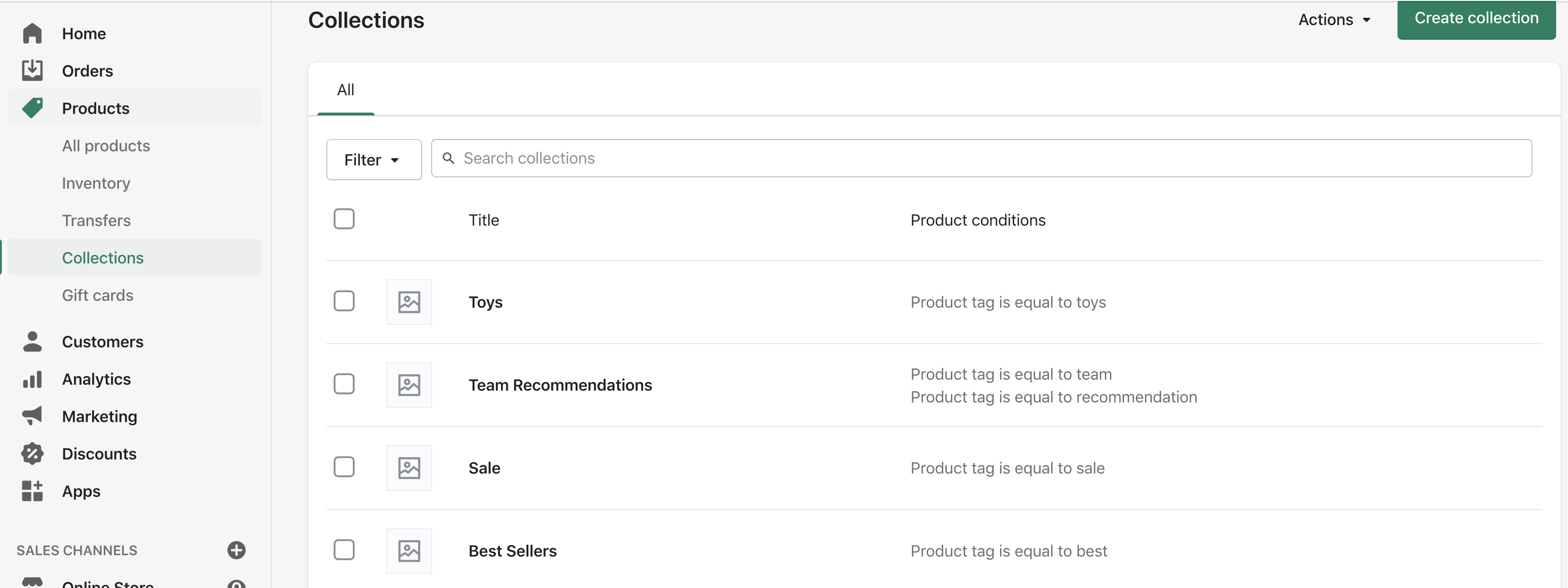 Collections in Shopify