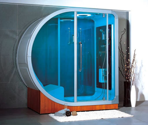 Apollo steam shower curved blue