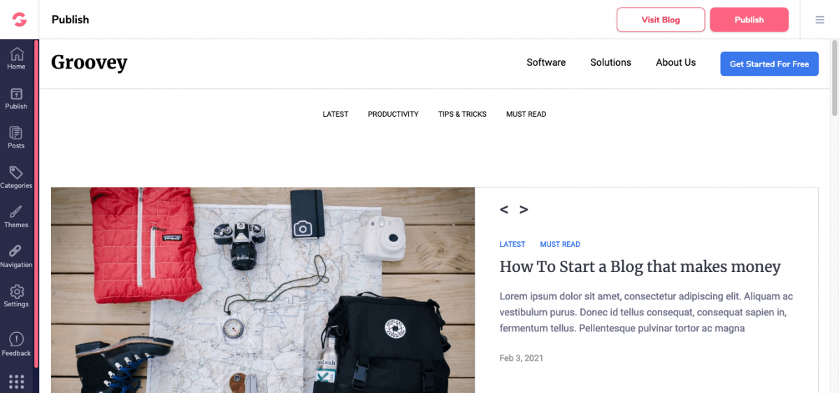 Theme and features of Groove Blog