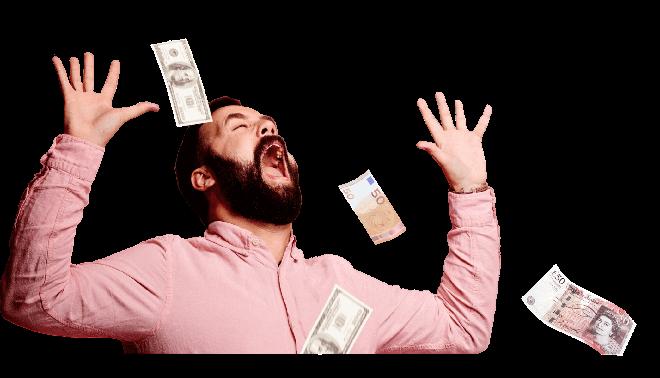 Man making it rain money