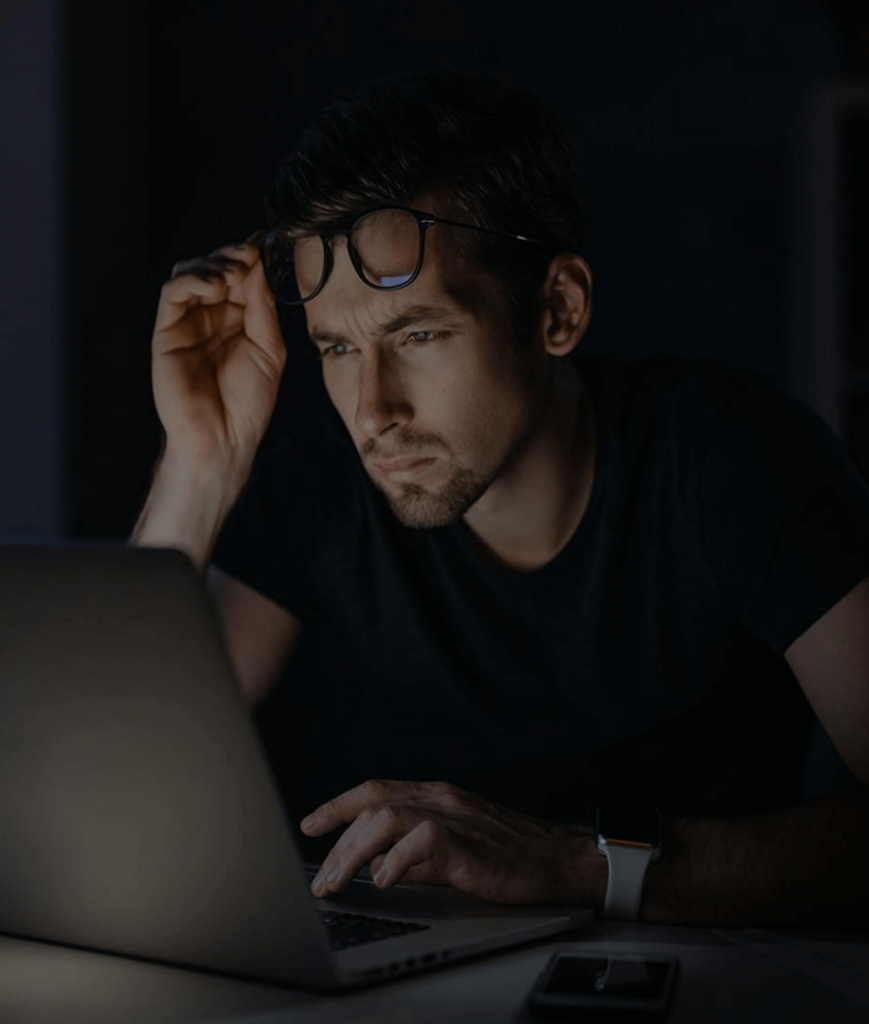 man looking over business financials