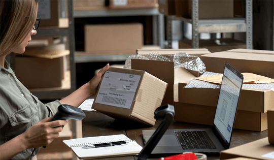 Ecom shipping packing station