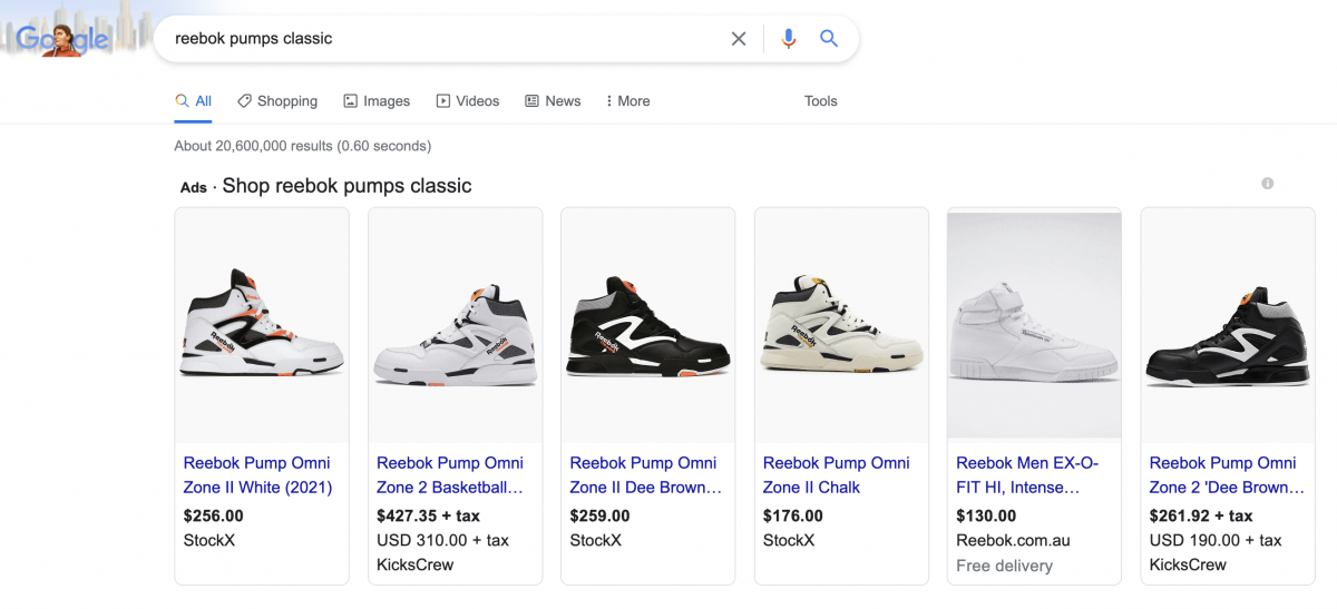 product listing ad results