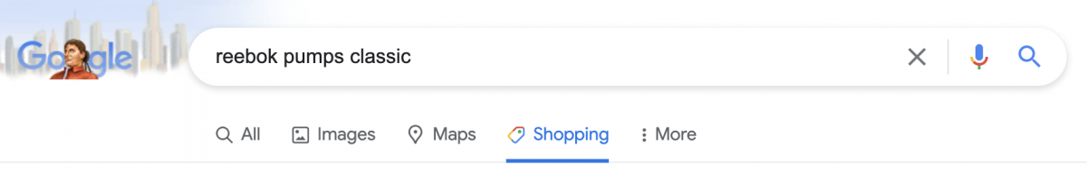 shopping tab in Google search bar