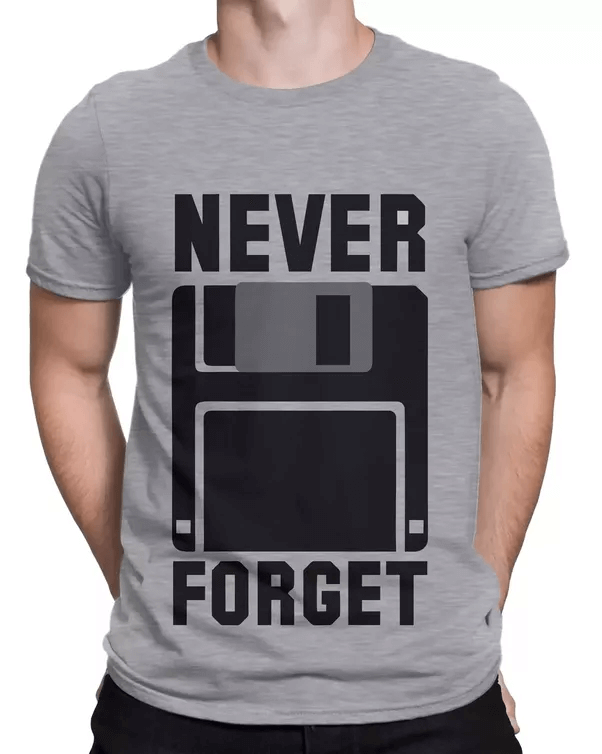 printed tee never forget floppy disks