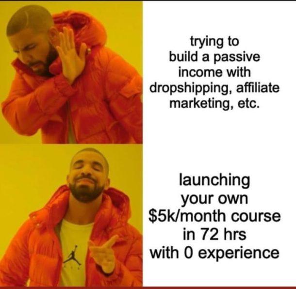 meme drake and online ecom gurus joke